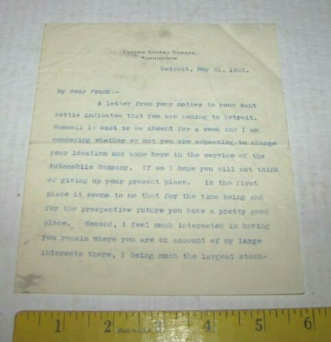 1905 SIGNED LETTER  FRANK RUSSELL GOING TO JOB IN DETROIT BEFORE WRIGHT BROTHERS
