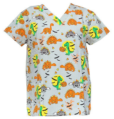Women's Fashion Medical Nursing Scrub Tops Halloween Dinosaur L - Halloween Nurses Scrubs