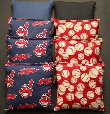Cleveland Indians CORNHOLE BEAN BAGS Baggo Toss Game MLB 8 Quality Handmade Bags Mlb Bean Bag Toss
