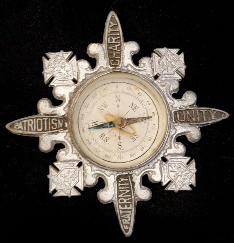 KNIGHTS OF COLUMBUS Silver Tone Compass Charity Unity Fraternity Patriotism