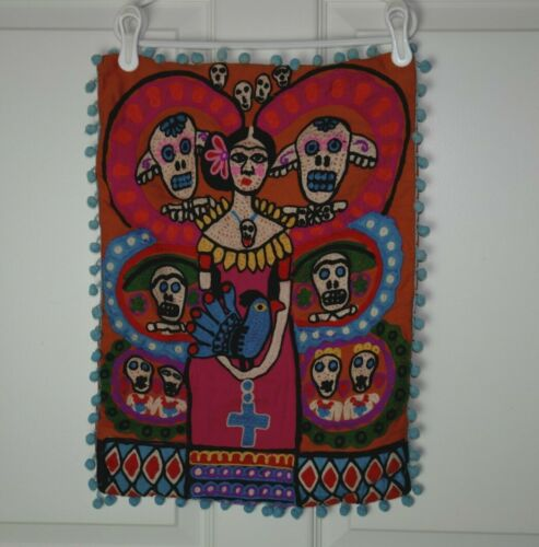 Earthbound Trading Co Pillow Cover Dia de los Muertos/Frida Kahlo Orange Blue