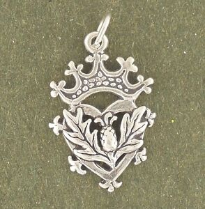 Thistle Charm 925 Sterling Silver Pendant Luckenbooth Scotland Crown Leaf Heart