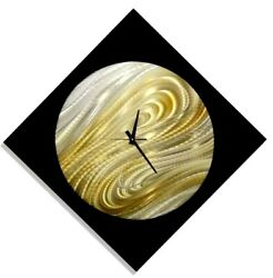 Clock - Solar System Inspired Unique Art Clock - Metal Wall Art Decor Black/Gold