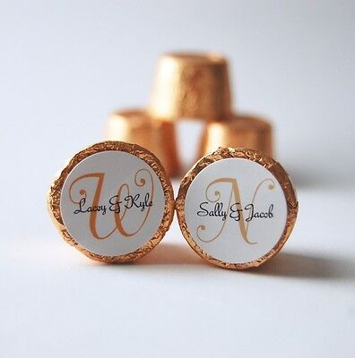 120 Personalized Wedding Favor Labels Stickers Monogram New Size! (.75
