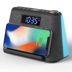 i-box Glow LCD Alarm Clock Wireless Qi Charging Dock Bluetooth Speaker Radio