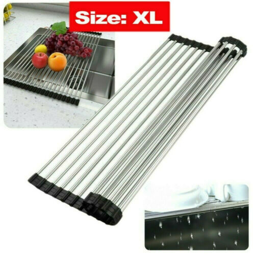Space Enlarge Roll Up Dish Drying Rack Kitchen Over Sink Pan