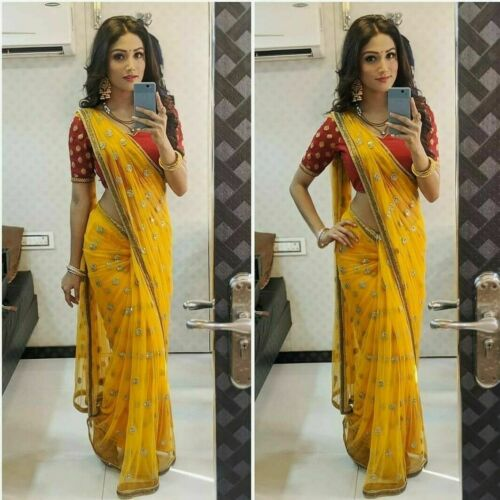 New Yellow Saree Pure Organza Saree with Sewuance work Saree Party Casual wear