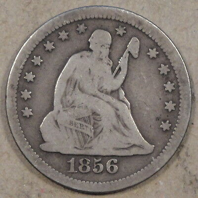 1856-O LIBERTY SEATED QUARTER NICE ORIGINAL VG