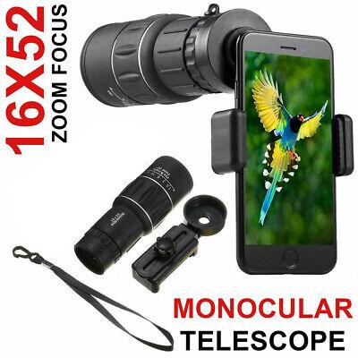 Waterproof 16X52 High Definition Monocular Telescope Outdoor W Cell Phone Holder