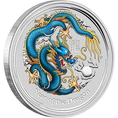 Perth Mint Australia $1 LS2 Blue Colored Dragon 2012 1 oz .999 Silver Coin