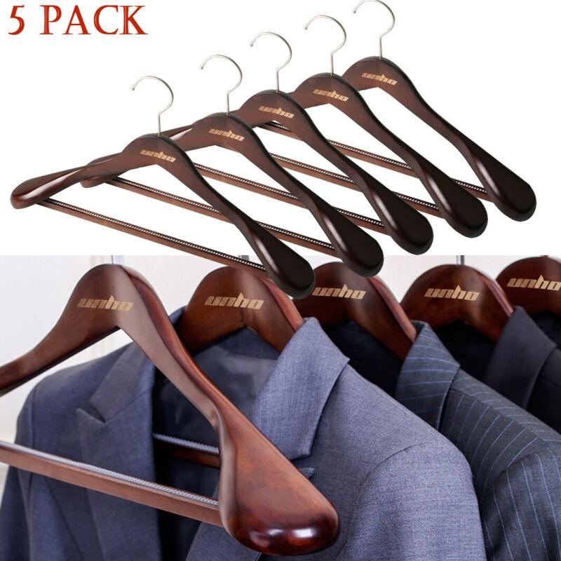 5PCS Natural Wood Suit Clothes Hangers Hook Heavy Duty Extra Wide Shoulder Brown