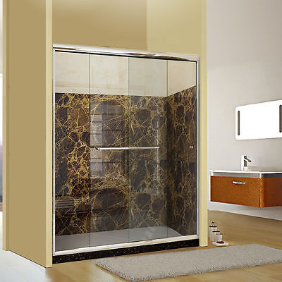 "Cheery SHOWER Semi-frameless 2 Sliding Shower doors 56-60""x72"" Clear Glass 1/4"""