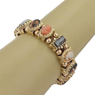 (Vintage Hand Painted Portrait & Shell Cameos 14k Gold Slide Charm Bracelet)