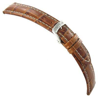 - 20mm Morellato Genuine Italian Leather Alligator Grain Matte Tan Watch Band 3252