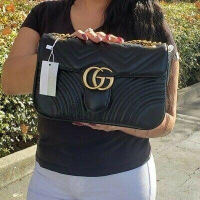GG Black Vegan Leather Quilted Handbag Shoulder Bag Brand New