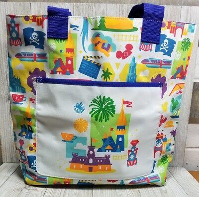 Disney World Magic Kingdom Rides Attractions Nylon Tote Shopper Bag Disneyland