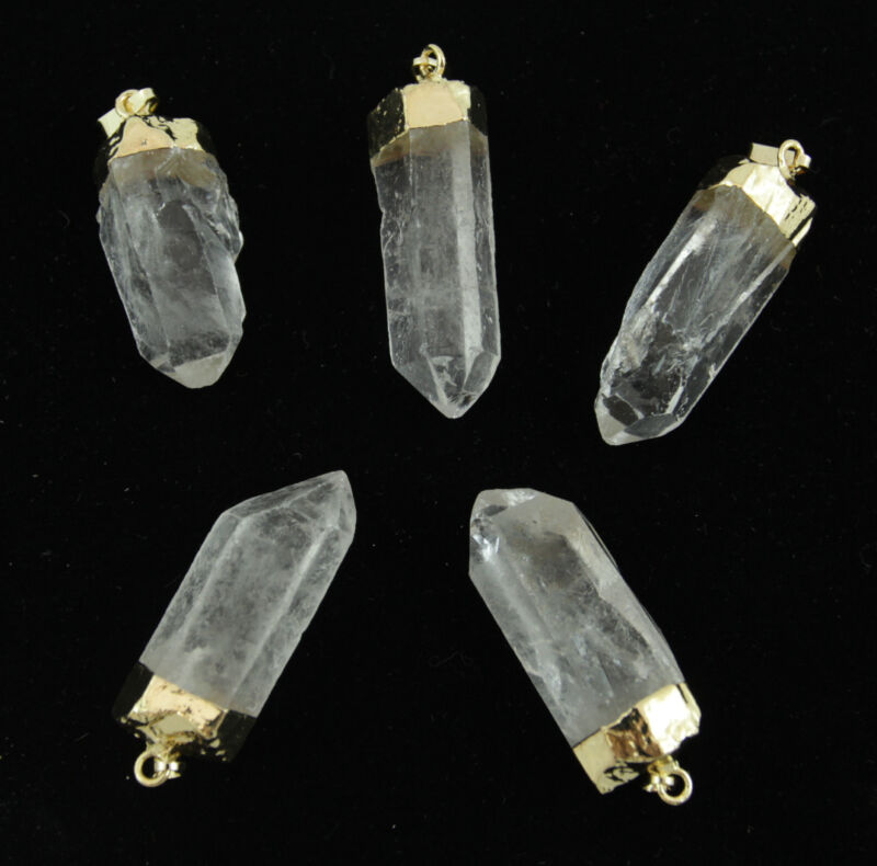 5 Gold Plated Quartz Crystal Point Pendants Bulk Wholesale Lot Healing p6