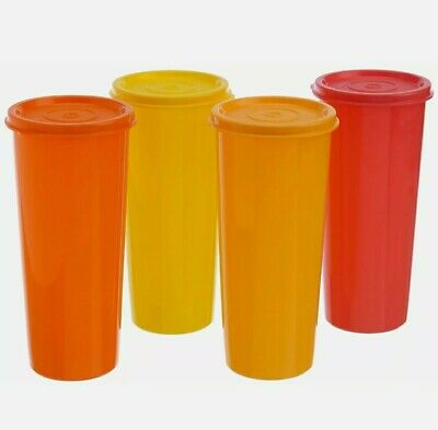New TUPPERWARE SET OF (4) 16oz TUMBLERS/SEALS 4 Different Shades FREE SHIP