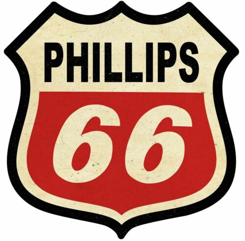 PHILLIPS 66 SHIELD SHAPED HEAVY DUTY USA MADE METAL GASOLINE ADVERTISING SIGN