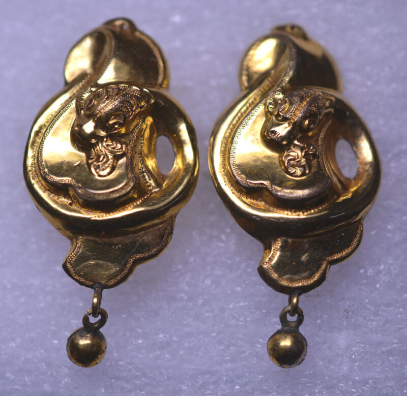 ANTIQUE VICTORIAN GOLD FILLED DORMEUSE EARRINGS WITH FIRE BREATHING DRAGON FACE