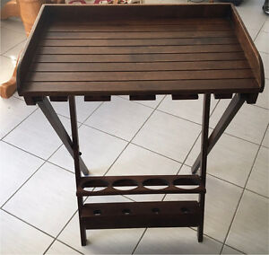 Wood Folding Wine Table with Wine Glass Rack - Holds 4 Bottles