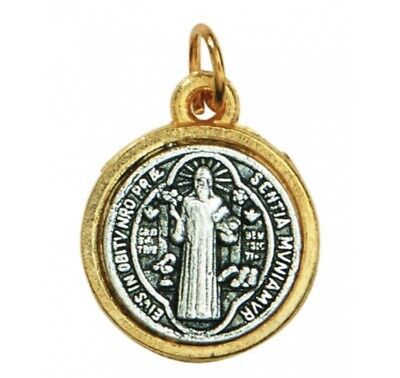 Lot of 5 Silver Toned Base Tone Saint Benedict Protection From Evil Sacremental Devotion 1 Inch Medal by Religious Gifts