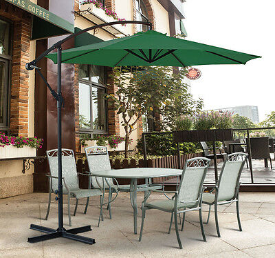 3M Garden Parasol Sun Shade Patio Banana Crank Cantilever Hanging Umbrella Green