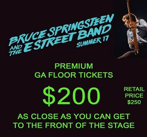 2 x PREMIUM GA FLOOR tickets BRUCE SPRINGSTEEN Perth Wednesday 25 Jan Highgate Perth City Area Preview