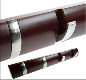 4-Modern-Satin-Nickel-Plate-Curved-Hooks-Polish-Wood-Rack-Wall-Hang-Coat-Clothes
