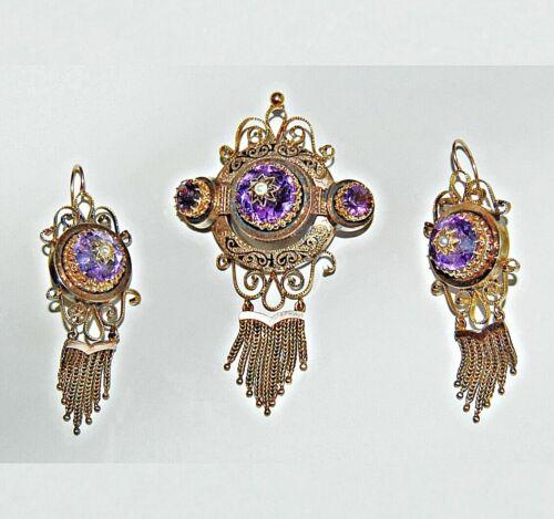 Victorian BROOCH & EARRING SET: 14K GOLD, Amethysts, Pearls, Black Enamel (4X10)