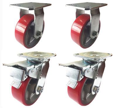 4 Caster 4 5 6 8 Polyurethane On Cast Iron Rigid Total Lock Brake Red