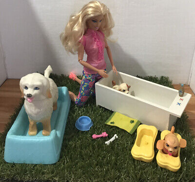 Barbie Playset 🤎🐶🤎 Bathtime Fun ~ Barbie & Mika ~ With Dogs + Accessories
