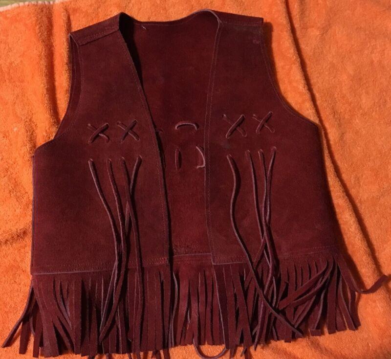 Vintage Brown Red fringe Leather Suede boys Girls VEST Small 8-10 Hippie