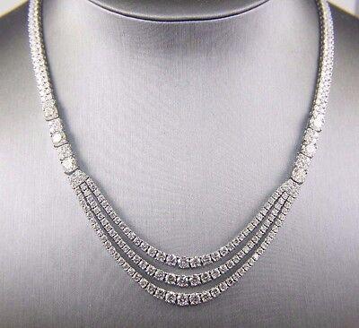 Fancy 3 Layer Lady's Dangle Fashion Tennis Necklace 18K White Gold 23.14Ct