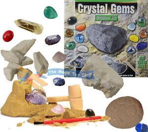 Crystal Gems Digging Mining Excavation Kit Dig Out Your Own Rock Gemstones Set