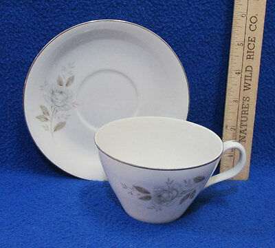 Japan China White Rose (Windsor Rose China Cup & Saucer Gray White Rose Porcelain Silver Trim Japan)