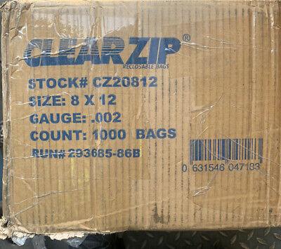 1000 Clear Reclosable Plastic Zip Lock Bags Resealable Zipper Bag 8 X 12-2 Mil
