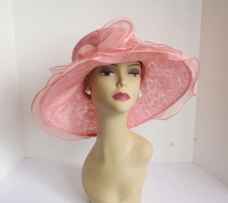 NEW Church Derby Wedding Lace & Organza Soft Dress hat Peach C-VF514