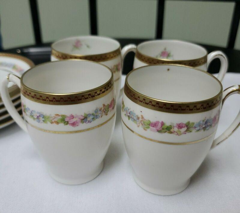 4 Carlsbad Porcelain China Austria Kaiserin Maria Theresia Cup & 5 saucers