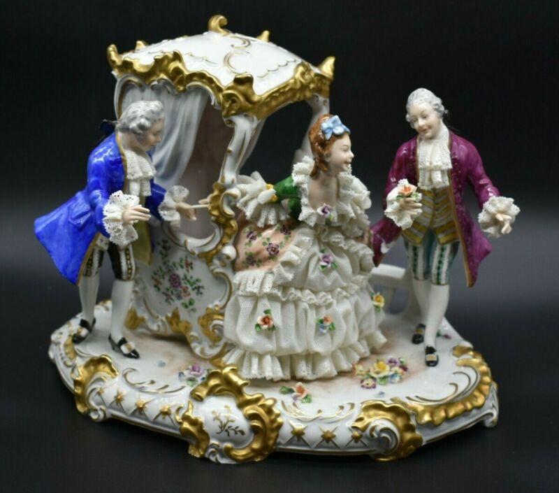 "Oldest Volkstedt Dresden German Victorian Carraige 11 1/2"" Figure Group"