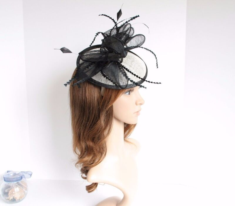 New Church Derby Wedding Sinamay w Feathers Fascinator Cocktail Black/Ivory 535