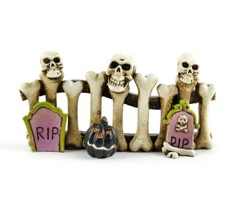"Miniature Dollhouse Fairy Garden Halloween Bone Graveyard Fence ""4 MW660"