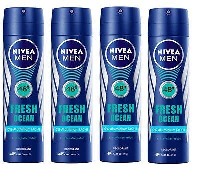 (21,65€/L) 4x 150ml Nivea Men Fresh Ocean 48h Deo Spray OHNE ALUMINIUM