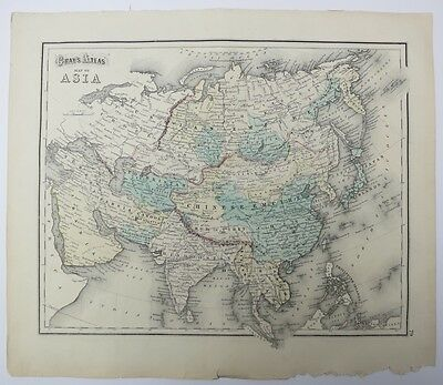 Antique Maps of Africa and Asia on Two Sides of Page from Gray's Atlas 1873