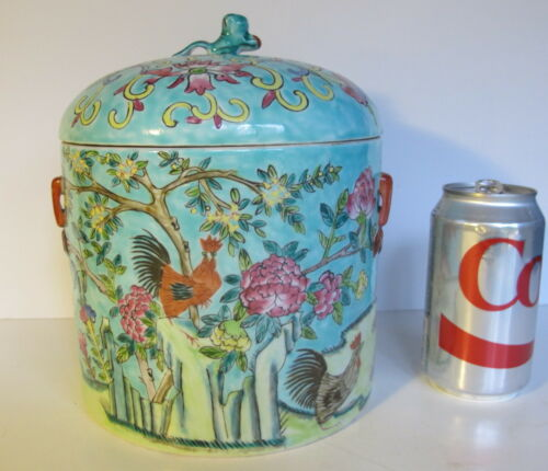 """Vintage Chinese Tea Caddy/Biscuit Jar Turquoise Ground   8"""" tall"""