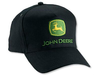 NEW John Deere Black Twill Tall Front JD Cap Hat LP14415