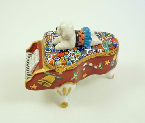 New French Limoges Box Bichon Frise Dog on Xmas Grand Piano Murano Millefiori