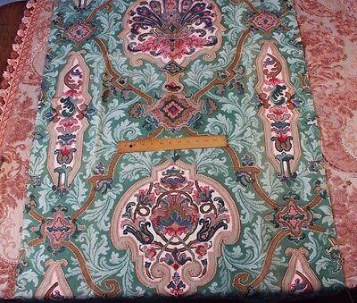 "Stunning Napoleon III Block Printed Jacobean Frame Fabric c1840~1yd21""L X 33""W"