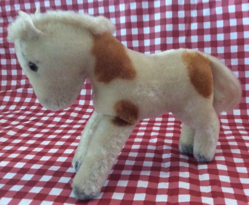 VTG 50's/60's Small STEIFF Mohair Standing Horse, Cream/Gold Spotted, GERMANY
