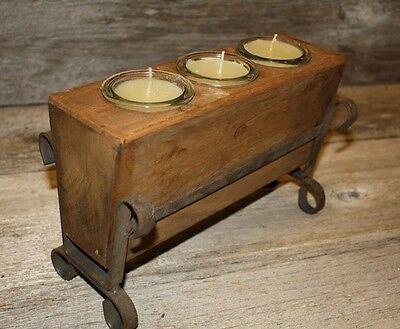 3 Hole Cast - 3 Hole Wooden Sugar Mold Wood Candle Holder Primitive Clear Glass Votives